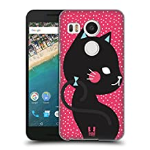 Head Case Designs Black Cat In Pink Cats And Dots Hard Back Case for LG Nexus 5X