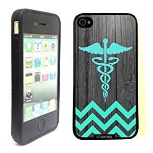 iPhone 4 4S Case ThinShell TPU Case Protective iPhone 4 4S Case Shawnex Teal Rn Nurse Medical On Dark Wood