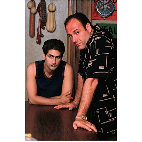 The Sopranos (TV Series 1999 - 2007) 8 inch by 10 inch PHOTOGRAPH Michael Imperioli Black Sleeveless Shirt Leaning on Table & James Gandolfini Palms on Table kn