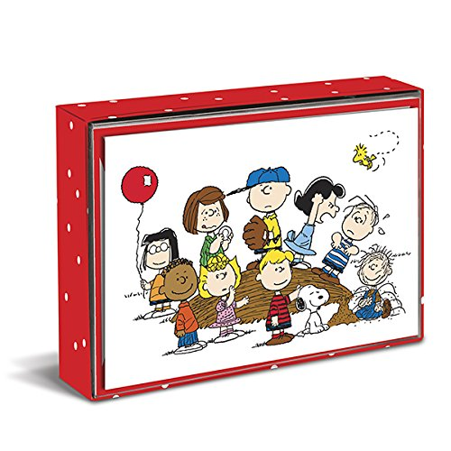 Graphique Peanuts Gang Boxed Notecards, 16 Peanuts Friends Cards Embellished with Glitter, with Matching Envelopes and Storage Box, 3.25