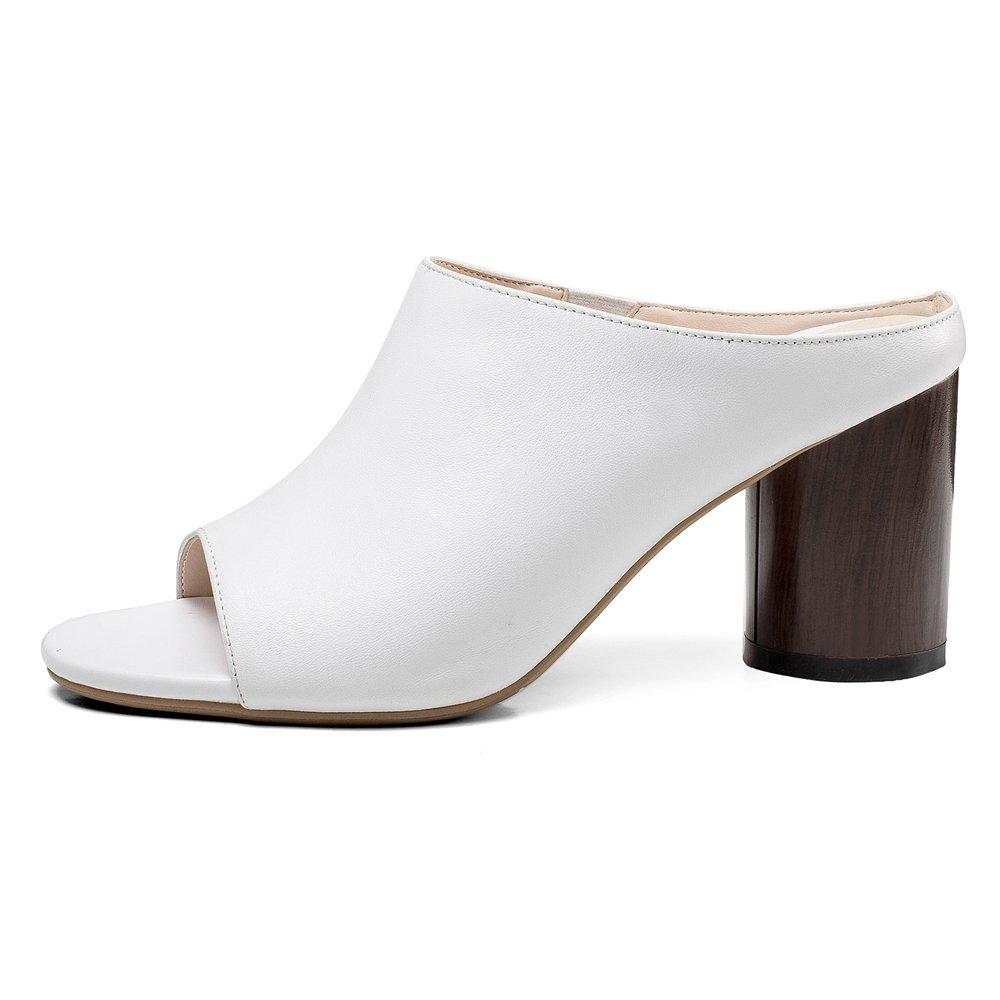 RAZAMAZA Damen Weiß Pantoletten mit Absatz Weiß Damen 473718