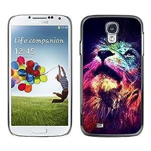 León Cosmos Profundo Universo Rey Espacial - Metal de aluminio y de plástico duro Caja del teléfono - Negro - Samsung Galaxy S4