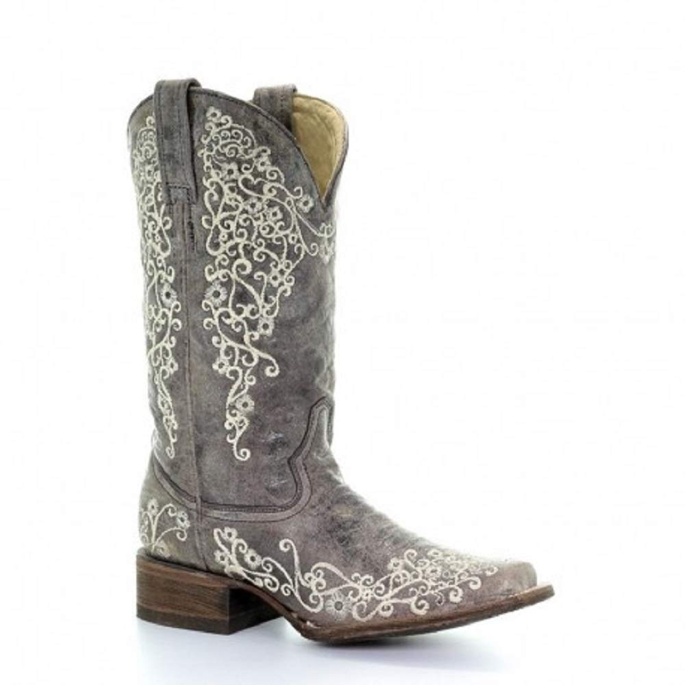 5a41b0061dc Amazon.com  Corral Womens Brown Crater Bone Embroidery Square Toe Western  Cowboy Boot  Shoes