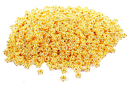 Femitu 1000PCS of Gold plated metal daisy spacer beads ()