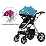 2016 New Style! Summer Deal! H&A 3in1 Luxury City Select High View Anti-Shock Folding Baby Stroller,Travel System Infant Carriage Buggy Bassinet,FREE Second Purple Canopy (Purple&Blue), Silvery Frame