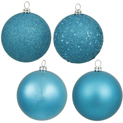 (Vickerman 4-Finish Ornament Set, Includes 60 Per Box, 2.4-Inch, Turquoise)