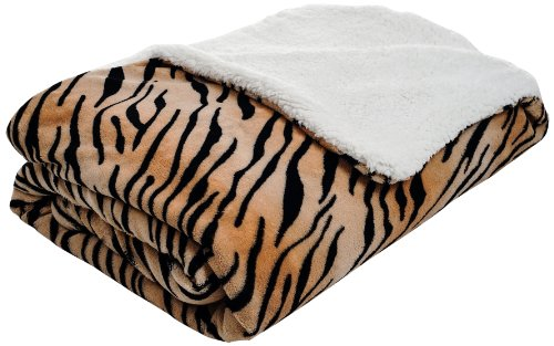 - Bedford Home Fleece Blanket with Sherpa Backing, Twin, Tiger