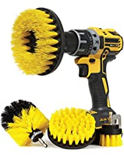 Drill Brush Attachment Set (4 Piece)   Power Scrub Brushes with Quick Change Bit Adapter   Medium Stiff Scrubber Bristles   Combo Cleaning Kit