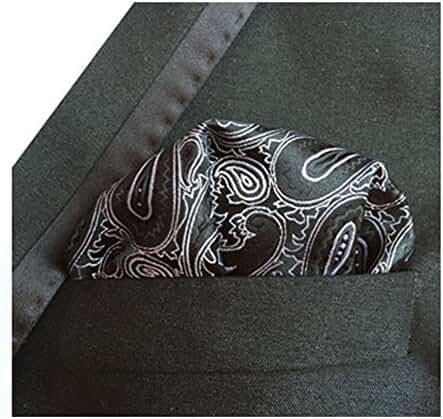 MENDENG Men's Black Silver Paisley Pocket Square Formal Party Hanky Handkerchief