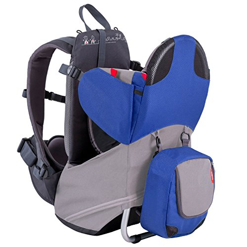 phil&teds Parade Child Carrier Frame Backpack, Blue - Compact, Lightweight (4.4lbs) - Holds a 40lb Child - Ergo Fit Harness - Waterproof - Minipack Included - 2 Year Guarantee