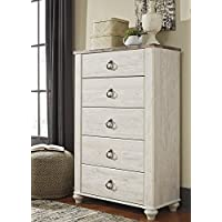 Willannet Casual Whitewash Color Wood Five Drawer Chest
