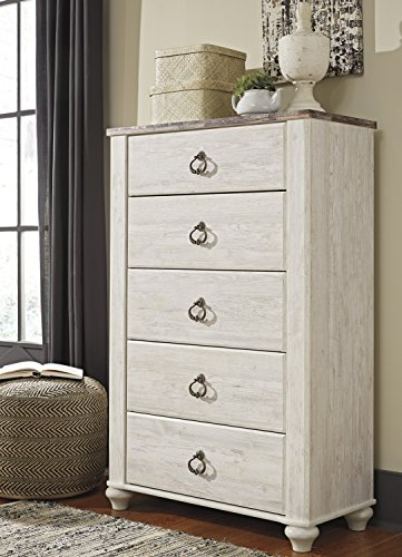 Retreat 5 Drawer Chest - Willannet Casual Whitewash Color Wood Five Drawer Chest