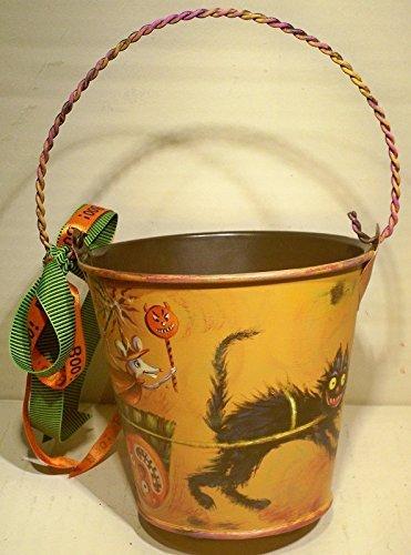 Handmade, Halloween, Cat, Mouse, Decorative, Hand Painted, Children's Metal Bucket, Trick-or-Treat (Handmade Halloween Decorations)