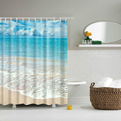 Beach Ocean Theme Shower Curtain, Ocean Waves Beach Waterproof and 71