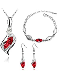 Fashion Red Color Necklace Earring Bracelets Jewelry Set for Women