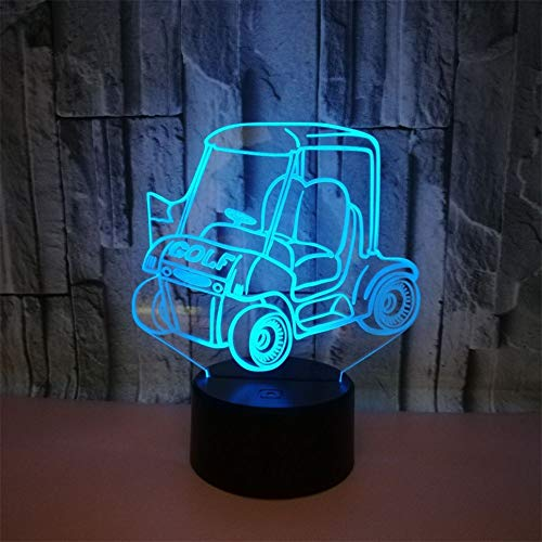 RUIYI Golf Cart 3D Optical Visual Light Illusion Table Lamp 7 Color Change Bedside Lamp with Base USB Girl Boy Birthdy Gift Home Club Decoration (Cart Battery Print)