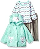 Nannette Baby Girls' 3 Piece Hooded Faux Fur Jacket Set With Tee and Pant, Green, 9m