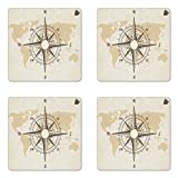 Nautical Coaster Set of Four, Compass on World Map with Continents Africa America Antique Adventure, Square Rubber Coasters for Drinks, Beige Tan and Brown