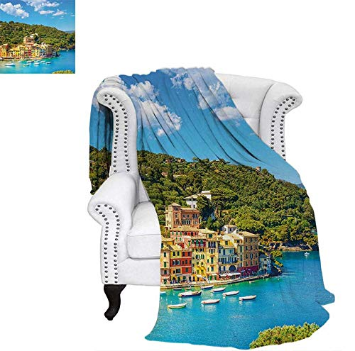 (Custom Design Cozy Flannel Blanket Portofino Landmark Aerial Panoramic View Village and Yacht Little Bay Harbor Weave Pattern Blanket 80
