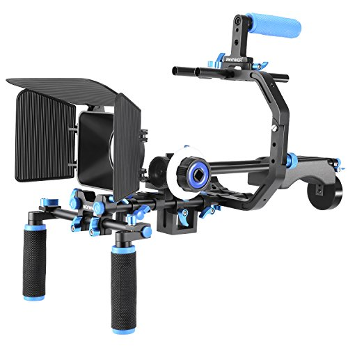 Neewer Film Movie Video Making System Kit for Canon Nikon Sony and Other DSLR Cameras Video Camcorders, includes: C-shaped Bracket,Handle Grip,15mm Rod,Matte Box,Follow Focus,Shoulder Rig (Blue+Black) (Video Rig)