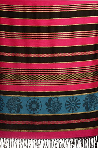 Fuchsia Pink Stripes & Gold Lurex Pashmina Feel With Tassels - Rose ?charpe Taille Unique - 70cm x 180cm