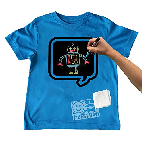 - Chalk of the Town Chalkboard T-Shirt Kit for Kids - Short Sleeve Brilliant Blue Speech Bubble w/3 Markers and Stencil (Medium)