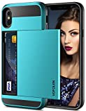Vofolen Case for iPhone X Case iPhone XS Wallet Card Holder Slot Sliding Cover ID Pocket Dual Layer Bumper Anti-Scratch Protective Hard Shell Hybrid Rubber Armor for Apple iPhone X XS 10 10S -Sky Blue