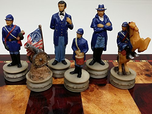 (US Generals Civil War Set of Chess Men Pieces Hand Painted - NO)