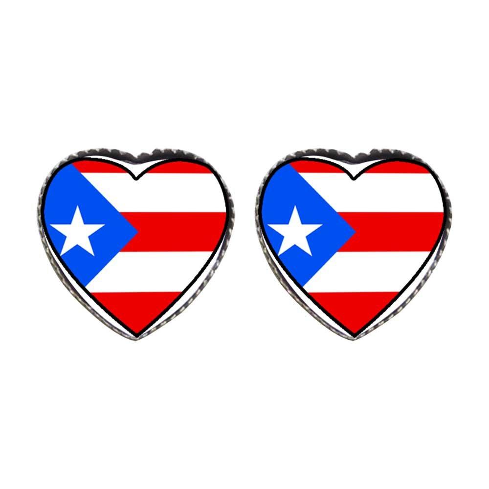 GiftJewelryShop Bronze Retro Style Puerto Rico flag Photo Stud Heart Earrings #12