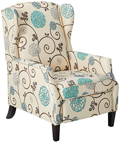 Christopher Knight Home Westeros Recliner Chair, White & Blue Floral (Comfy Chair Wingback)