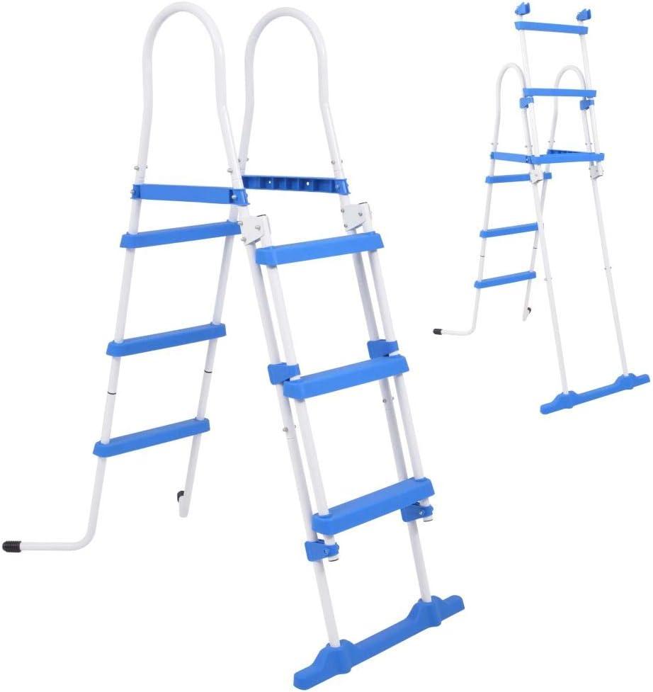 FAMIROSA Escalera de Seguridad de Piscina elevada 3 peldaños 107 cm