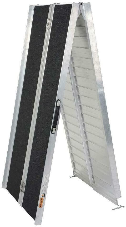 Aluminum TRIBLE SIX 10 ft Portable Wheelchair with Sandpaper Slip Resistant Surface Ramp Multifold Collapsible