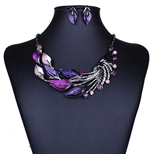 Misaky Elegant Women Lady Purple Peacock Enamel Bib Necklace Stud Earrings Set Gift for Women (Purple) (Carole Floral Tunic)
