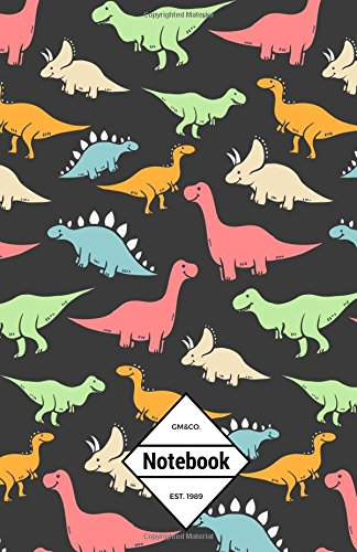"""Read Online GM&Co: Notebook Journal Dot-Grid, Lined, Graph, 120 pages 5.5""""x8.5"""": Smooth Cartoon T-REX Jurassic Dinosaur Black (Dinosaur Collection) (Volume 2) ebook"""