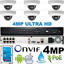 USG Business Grade 4MP 2592x1520 6 Camera HD Security System : 16 Channel 6MP Security NVR + 6x 2.8mm Wide Angle Dome Cameras + 1x 2TB HDD : Apple Android Phone App