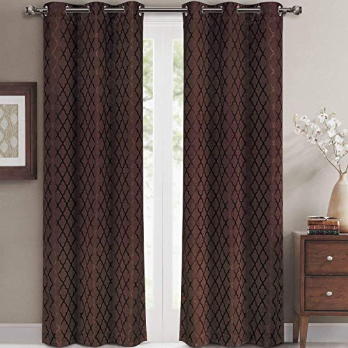 Willow Jacquard Chocolate Grommet Blackout Window Curtain Panels, Pair / Set of 2 Panels, 42x84 inches Each, by Royal Hotel
