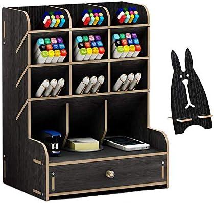 Meipire Wooden/Holz Schreibtischorganisationsboxen multifunktionaler DIY-Stifthalterbox Aufbewahrungsregal für Büro Schule Heimschreibtische (Stil-A Schwarz)