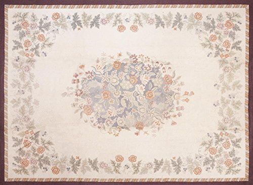 Area Rug - American Floral Hooked Rug - 8'9 x 11'9 - Early American - ()