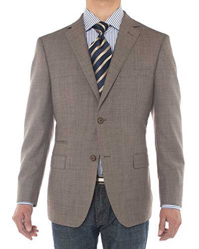 (LN LUCIANO NATAZZI Mens Two Button 160'S Wool Blazer Ticket Pocket Suit Jacket (40 Regular US / 50 Regular EU, Light)