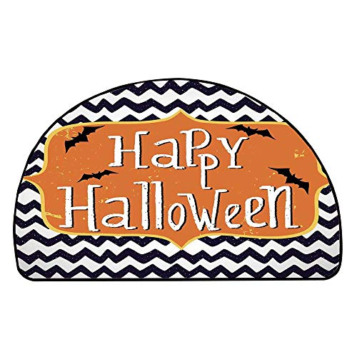 (C COABALLA Halloween Comfortable Semicircle Mat,Cute Halloween Greeting Card Inspired Design Celebration Doodle Chevron Decorative for Living Room,19.6