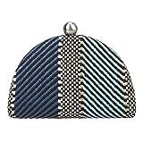 Fawziya Colorblock Semi Circle Women Clutch Purse Evening Straw Clutches-Blue