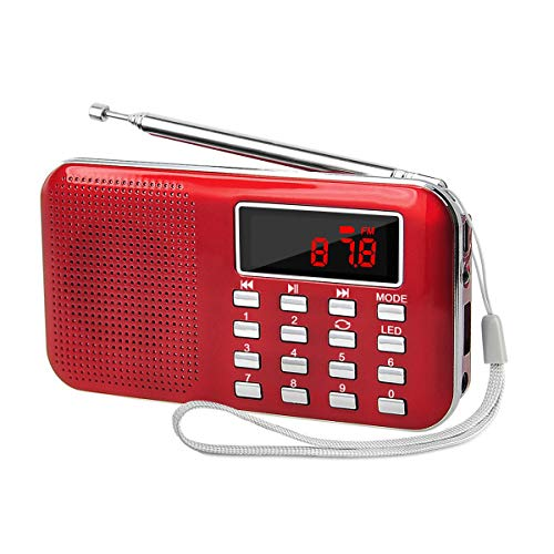 Retekess L-218 AM FM Radio Portable Digital Radio MP3 Music Player Speaker with Flashlight Support TF Card AUX Input USB Disk (Red)
