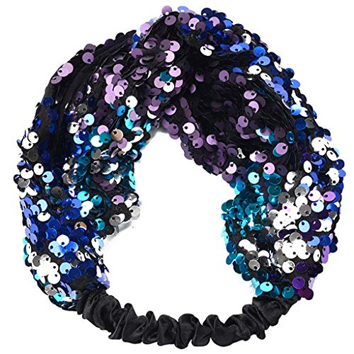 Peach & Pepper Women Fashion Sequin Glitter Twist Headbands Hair Tie Headwrap for Party Performance -