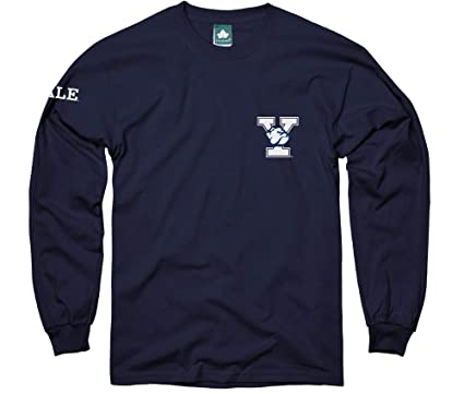 58f3dbd6 Ivysport Yale University Long Sleeve T-Shirt Mascot Logo, 100% Cotton, Navy