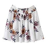 KaiCran Womens Chiffon Floral Print Tops Off Shoulder Blouse Sexy Long Sleeve Shirt (Beige, Small)