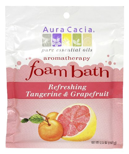 Aura Cacia Aromatherapy Foam Bath, Refreshing Tangerine and Grapefruit, 2.5 ounce packet (Pack of ()