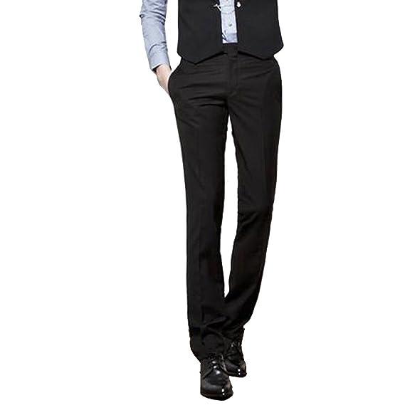 YZCX Pantalones de Traje de Vestir Lisos Caballero Hombre ...
