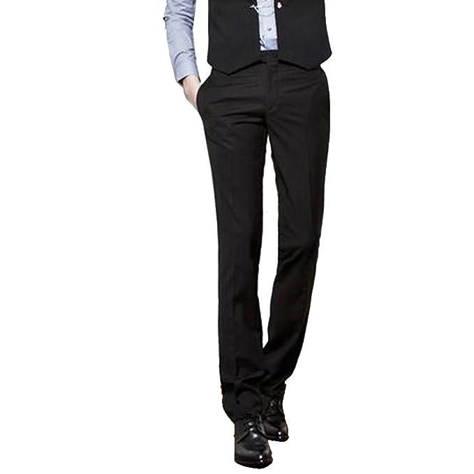 YZCX Pantalones de Traje de Vestir Lisos Caballero Hombre Modelo ...
