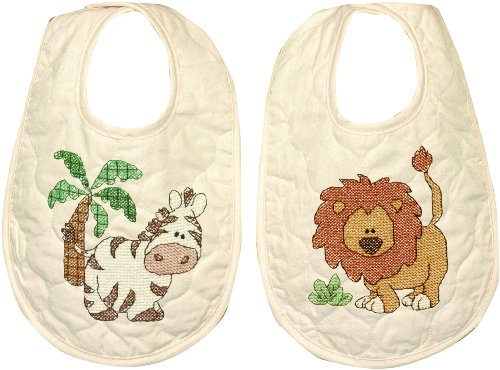 Dimensions Kimba Bibs Stamped Cross Stitch Kit, Baby Shower Gift, 9