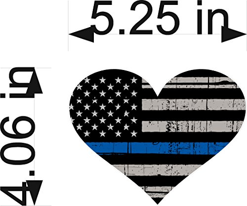 HEART (SINGLE) Tattered Police Officer Thin Blue Line 4x5